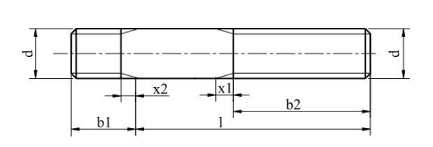 Схема шпильки  ГОСТ 22032-76