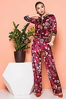 Велюровый костюм цвета марсала с цветочным принтом