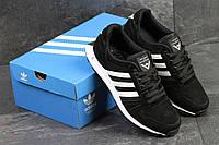 Кроссовки adidas NEO, черные с белым, материал - замша, подошва - пена (легкая и удобная)