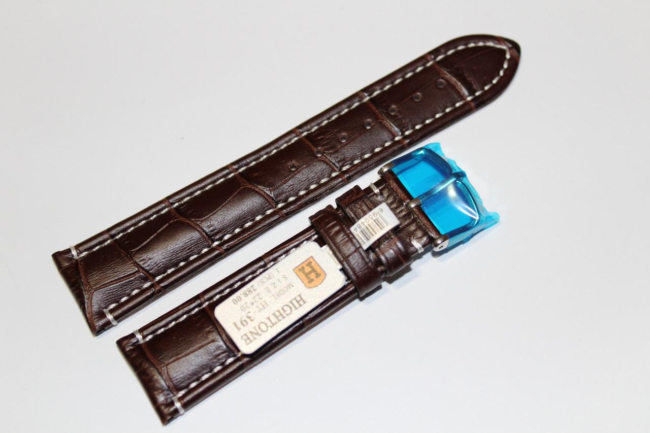Кожаный ремень для  наручных часов HIGHTONE- коричневый ремень выделкой под крокодил с белой прошивкой 22 мм