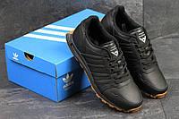 Кроссовки мужские adidas NEO - black, материал - кожа, подошва - пена (легкая и удобная)
