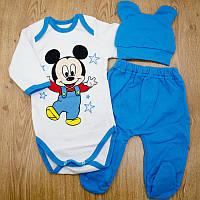 Комплект детский MirAks SCL-5292-00 Light Blue (Голубой/шапочка + боди + штанишки/начес/накат)
