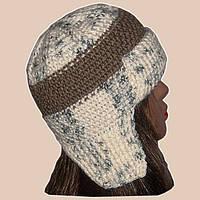 Женская вязаная зимняя шапка-ушанка бело-молочного цвета
