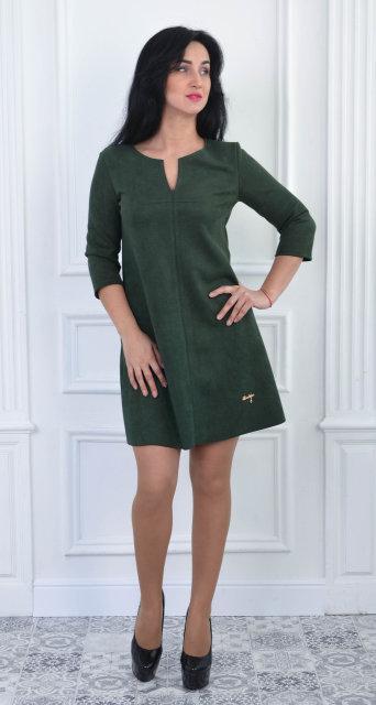 Купить Модное замшевое платье-трапеция цвета бутыль в Киеве от ... 10b826d9700