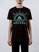Футболка чёрная Восход экспедиция лого I Стильная