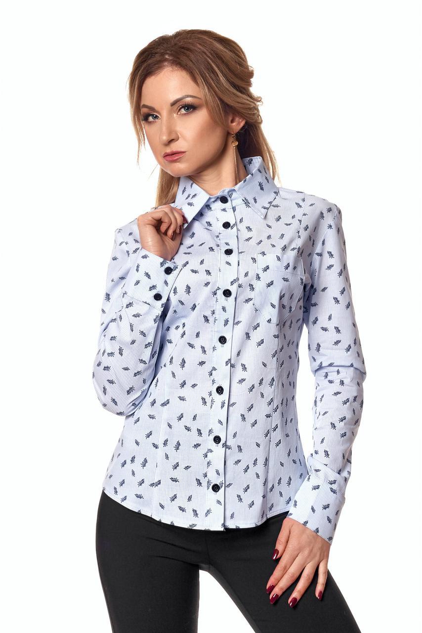 8650a50cc24 Классическая женская рубашка с принтом голубой листок - Интернет-магазин  Buyself.com.ua