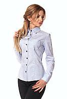 Классическая женская рубашка с принтом голубая точка