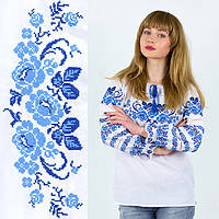 Сорочка с вышивкой Три мака синяя домотканое полотно