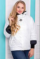 Женская, модная, красивая, стильная демисезонная молодежная куртка рукав 7/8 мышь р-48,50,52,54,56 белая