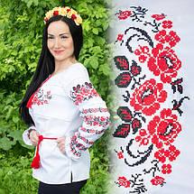 Женская сорочка с вышивкой Три мака красная котон , фото 3