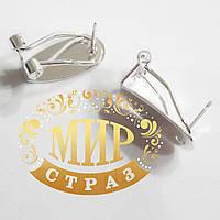 Металлическая швенза-клипса для сережек c плоской основой Silver 9*20мм, 1пара