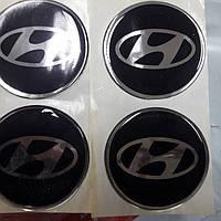 Наклейки на диски, колпачки заглушки силиконовые Hyundai (Хюндай), 60 мм