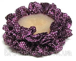 Объемная атласная резинка для волос в горошек фиолетовая