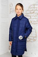 Удлиненная куртка на пуговицах  для девочки 128-152р