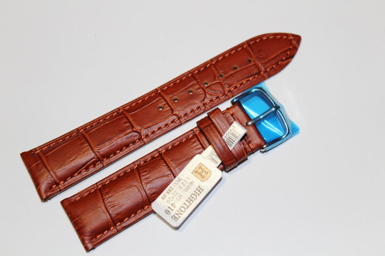 Кожаный ремень для  наручных часов HIGHTONE-светло-коричневый выделкой под крокодил 22 мм.