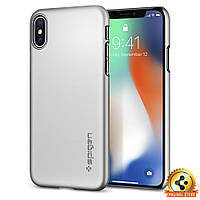 Чехол Spigen для iPhone X Thin Fit, Satin Silver, фото 1