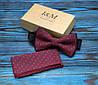 Набор I&M Craft Галстук-бабочка + платок в пиджак бордовый (011101)