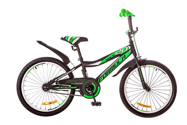 """Детский велосипед FORMULA RACE 20""""  Черный/Салатовый"""