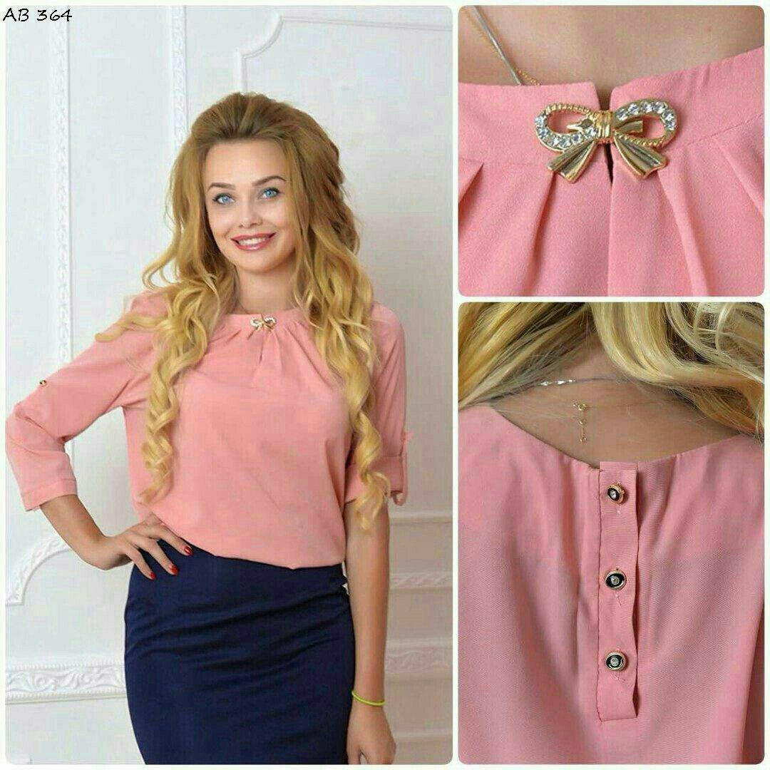 Блуза женская с брошкой-бант, модель 779, цвет - розовый