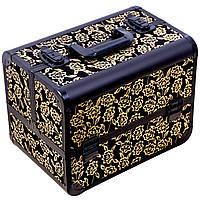 Кейс, чемодан  для мастера, металлический, бронзовые розы