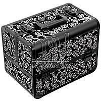 Кейс, чемодан  для мастера, металлический, серые розы