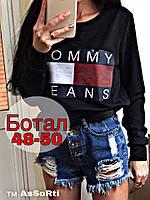 Свитшот женский Tommy Jeans весна-осень (большой размер универсал) (двунить) (цвет черный) СП