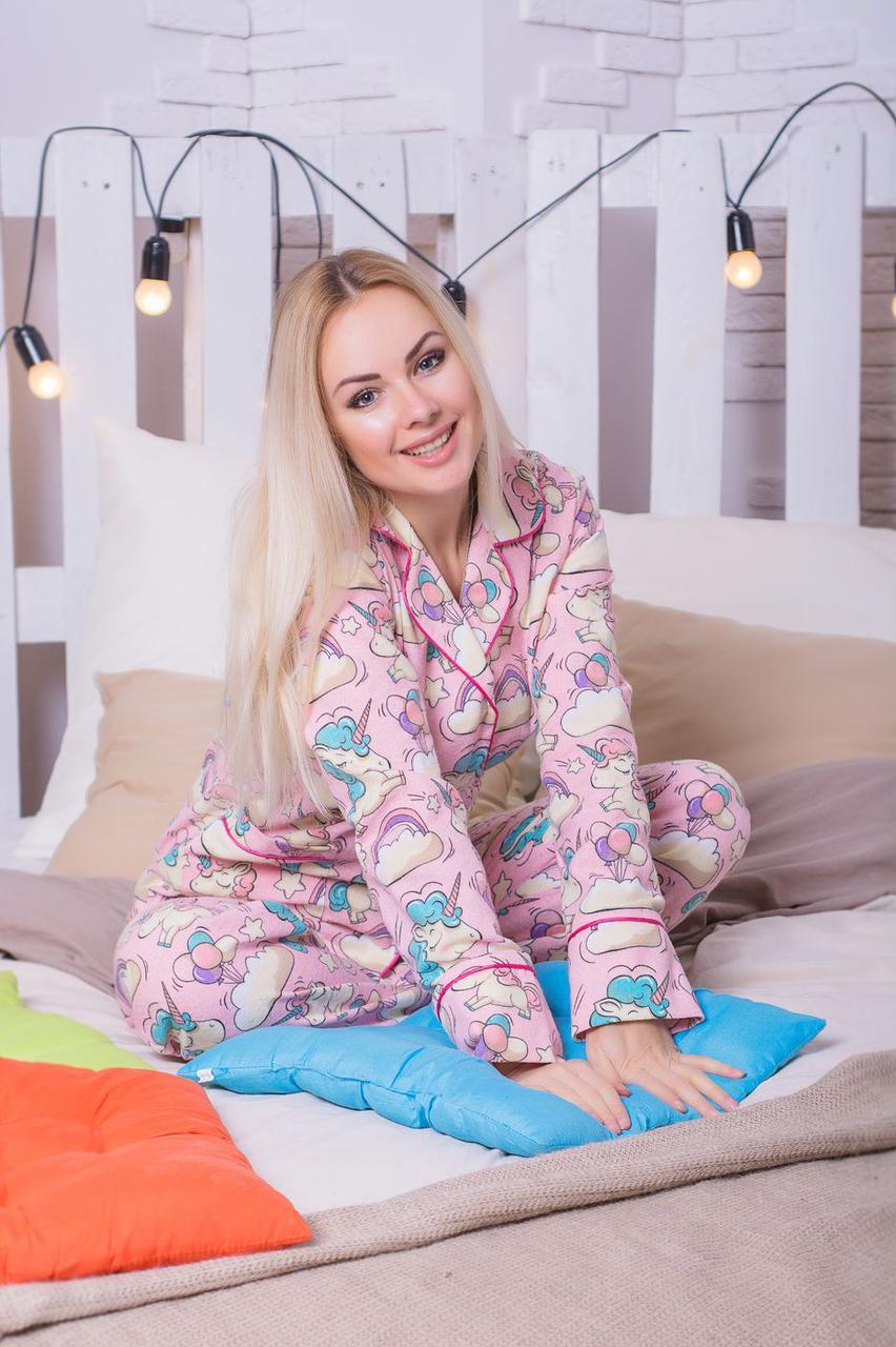 Женская Фланелевая Пижама с Единорогами П307 — в Категории