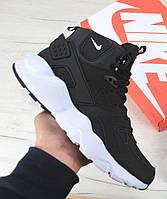Зимние мужские кроссовки Nike Air Huarache black/white (Реплика ААА+)