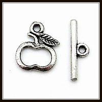 """Замок тогл """"яблоко"""" серебро (1,3х1, h 1,6 см) 15 шт в уп"""