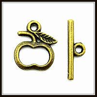 """Замок тогл """"яблоко"""" бронза (1,3х1, h 1,6 см) 15 шт в уп"""