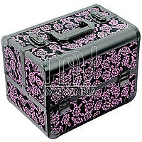 Кейс, чемодан  для мастера, металлический, розовые розы
