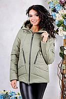 Женская демисезонная куртка В-1011 Лаке Тон 59 хаки 44-56 размеры