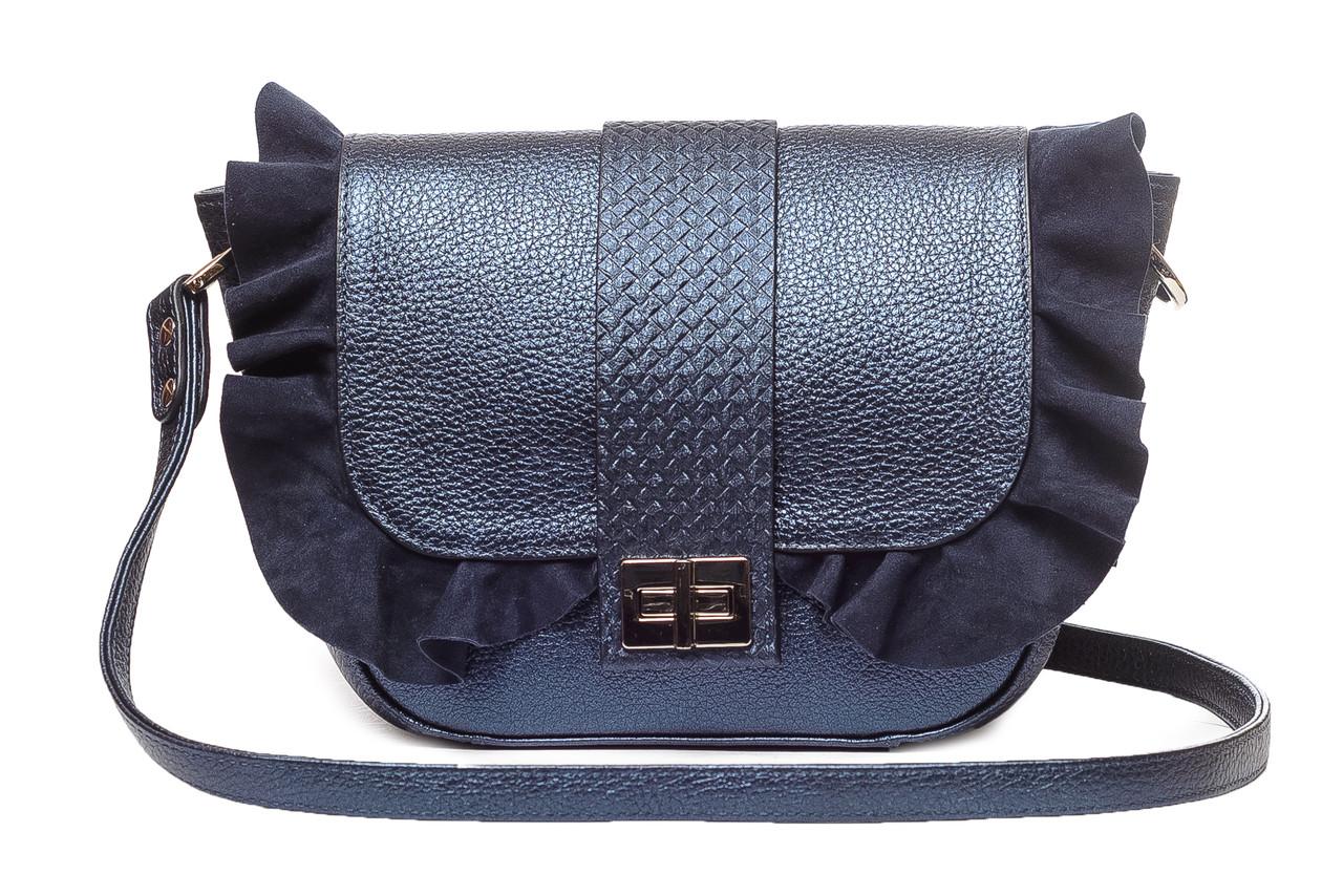 f4e7e366cc01 Женская сумка кросс-боди, на плечо, натуральная итальянская кожа, цвет  синий перламутр, Зима 18/19.