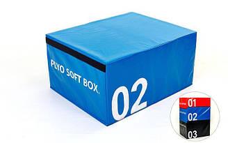 Бокс плиометрический мягкий (1шт) SOFT PLYOMETRIC BOXES  (EPE, PVC, р-р 70х70х45см, синий)