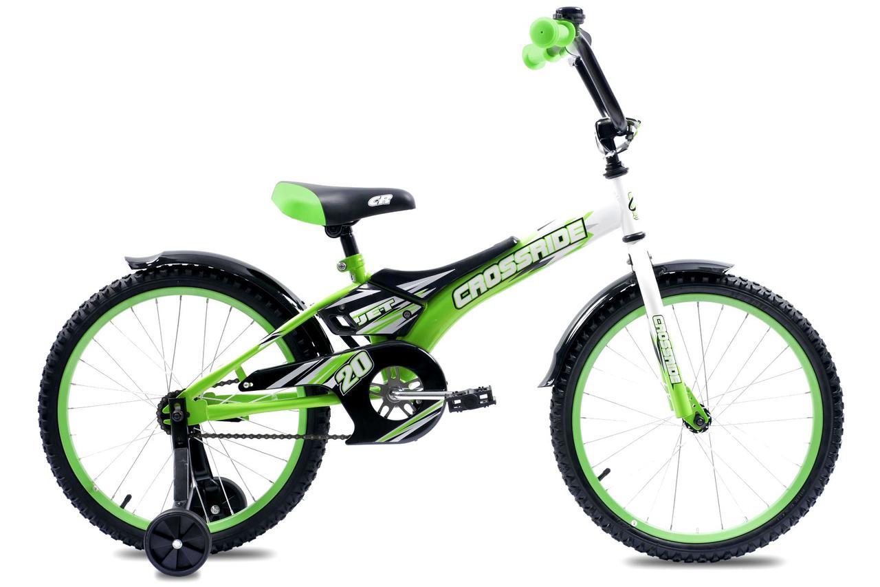 """Детский велосипед CROSSRIDE JET 20""""  Салатовый/Белый"""
