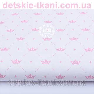 Отрез ткани  ранфорс с розовыми коронами и ромбиками, ширина 240 см (№1152)