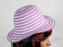 Солом'яний капелюх дитяча Энфант 28 см біло-бузковий