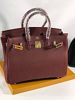 Елегантная женская сумка Hermes Birkin 35 см бордо