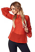 Эффектная шифоновая женская блузка кирпичного цвета