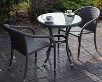 Столовий  комплект ORFEY стіл 70 см + 2 крісла, колір темно - коричневий