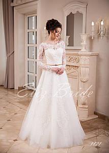 Свадебное платье А-силуэт с кружевными рукавами, цвет айвори