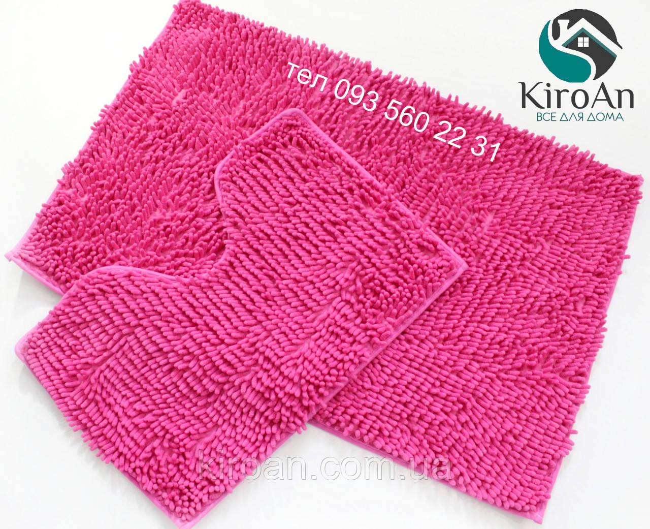 Набор ковриков в ванную комнату Лапша 60х90см Розовый