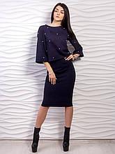 Модный нарядный женский костюм: кофта украшена бисером, юбка карандаш