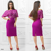 Платье вечернее одно плече цепка креп-дайвинг+гипюр 42,44,46