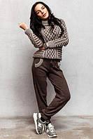 Шерстяной вязанный костюм Бонни коричневый .Премиум класс., фото 1
