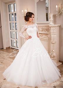 Свадебное платье А-силуэт, с длинным рукавом, айвори