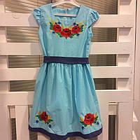 Льняное платье вышиванка для девочки Веснянка