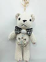 Вязанный белый брелок мишка, брелки медведи оптом 320