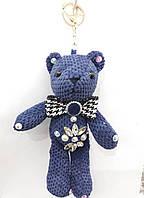 Вязанный синий брелок мишка, брелки медведи оптом 321