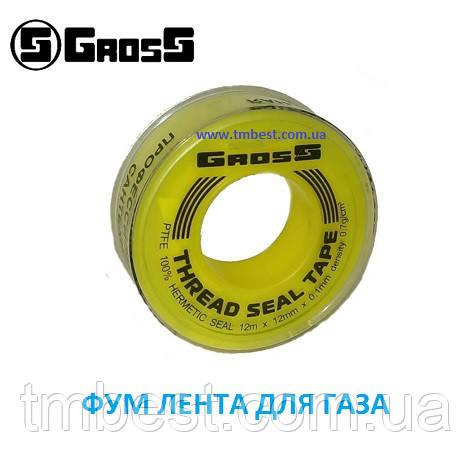 Стрічка фум газова 12 mm x 0,1 mm x 12m x 0,7 г/см3 Gross.